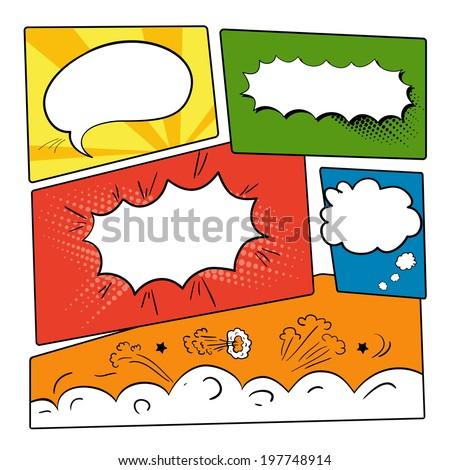 set of graphic comics speech