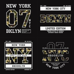 Set of graphic design for t-shirt with camouflage texture. New York tee shirt print with slogan. Brooklyn apparel typography with in military and army style. Vector illustration.