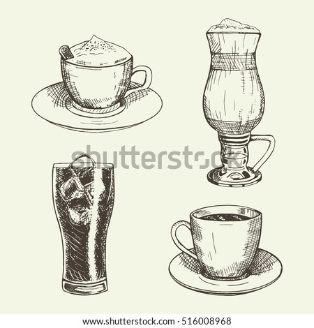 set of graphic drinks include