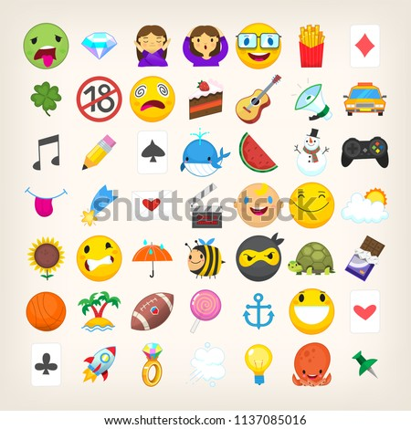 Set of graphic emoticons, signs and symbols used in social media chats. Cartoon style vector icons. Cute and funny characters and emojis. List of not so popular emoticons. Find more in my portfolio #1137085016