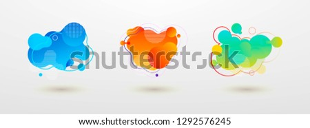 Set of graphic fluid elements for modern design. Abstract dynamic forms. Banner templates with liquid gradients and smooth shapes. Vector template for flyers, presentations, logos. #1292576245
