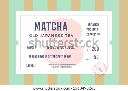 Set of graphic modern vintage tea label, tag, sticker for brand, logo, packing. Retro design minimal label, tag or card, classic old school style, typography. Vector Illustration
