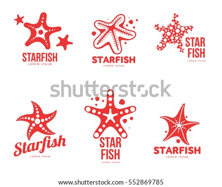 Set of graphic, silhouette starfish logo templates, vector illustration isolated on white background. Stylized graphic starfish logotype, logo design, summer vacation concept