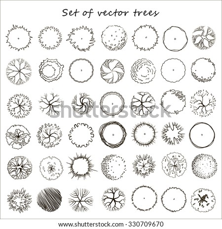 set of graphic trees  top view