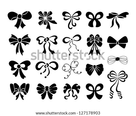 Set of graphical decorative bows