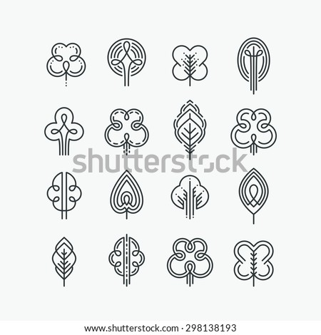Set of graphical line trees and leaves, design collection of nature signs, logos and symbols