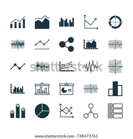 Set Of Graphs, Diagrams And Statistics UI Icons. Premium Quality Symbol Collection. Icons Can Be Used For Web, App And UI Icons Set Design.