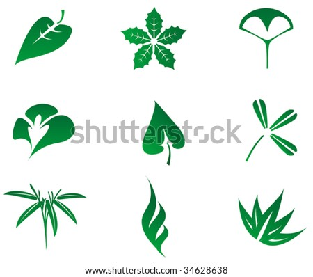 Set of grass and tree leaves icons isolated on white, for environment design. Nature logo, green leaf logo, environment logo
