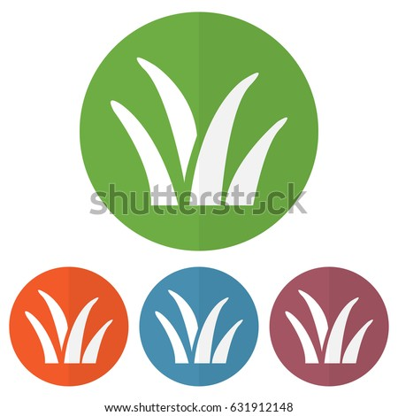 set of grass icon on a colorful
