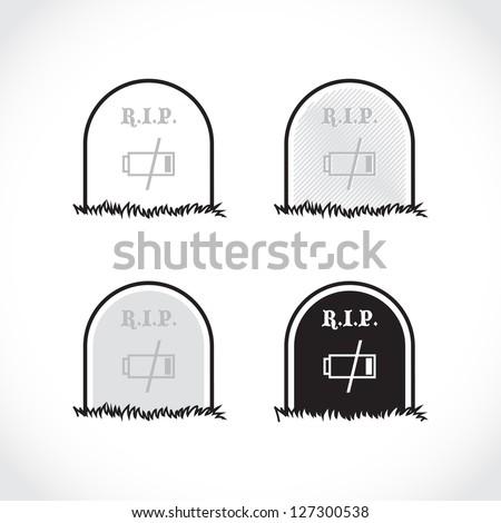 Set of gravestones, rest in peace, dead battery - illustration