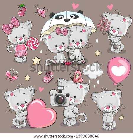set of gray cute cartoon kitten