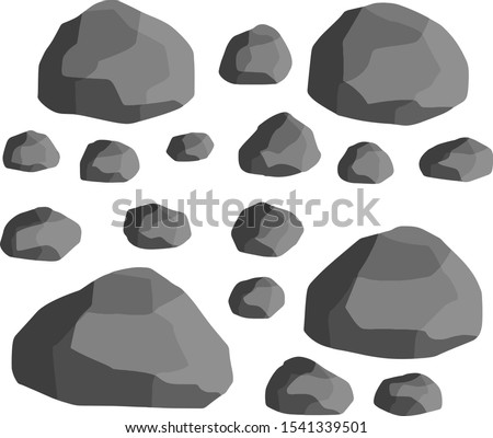 Set of gray granite stones of different shapes. Cartoon flat illustration. Element of nature, mountains, rocks, caves. Minerals, boulder and cobble