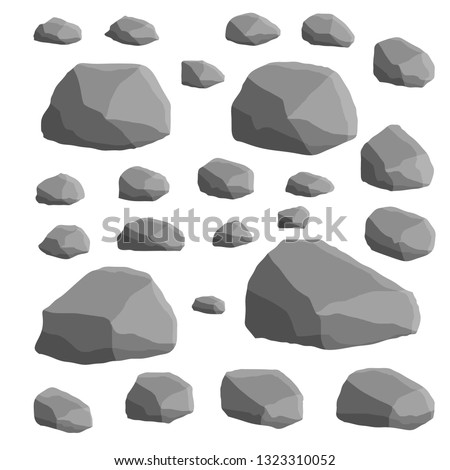 Set of gray granite stones of different shapes. Element of nature, mountains, rocks, caves. Minerals, boulder and cobble.