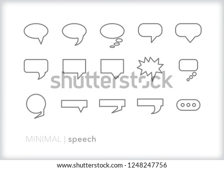 Set of 15 gray line art speech bubbles showing conversation, dialog or talking between two people such as drawn in an illustration, comic, graphic novel or cartoon