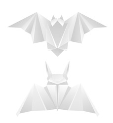 Set of gray paper origami bats. 3D object separately from the background. Craft Zoo. Halloween holiday. Vector element for cards, invitations, cards and your creativity.