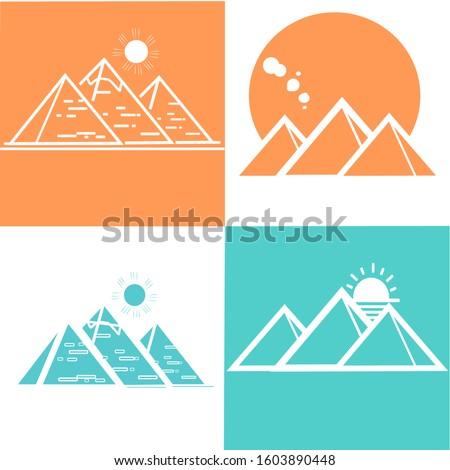 set of great egyptian pyramids