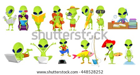 set of green aliens engaged in