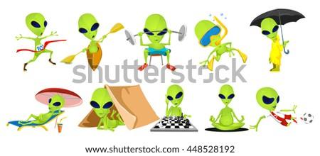 set of green aliens lifting