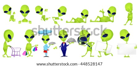 Set of green aliens posing with white blank placard. Set of aliens of such professions as chef, waiter, detective. Set of aliens doing shopping. Vector illustration isolated on white background.