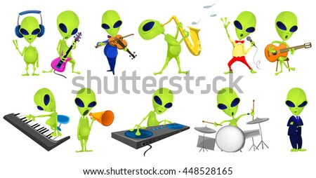 set of green aliens singing and
