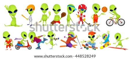set of green aliens wearing