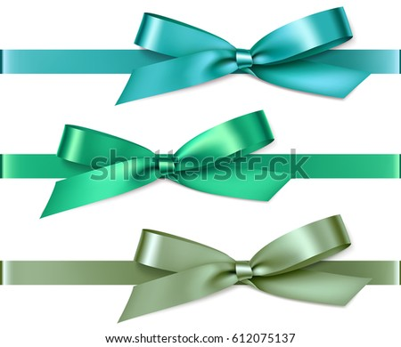 set of green and blue bows with ...
