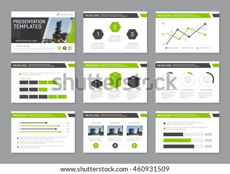 Set of green and gray template for multipurpose presentation slides. Leaflet, annual report, book cover design.