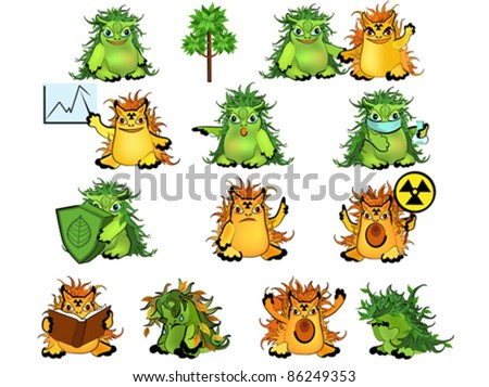 Set of green and yellow monsters, symbols of ecology and radiation.