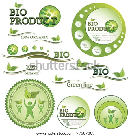 Set of green bio and organic badges and labels. Vector illustration