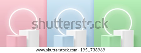Set of green, blue, pink round corner cube pedestal podium. Glowing neon ring. Pastel color room. Abstract modern vector rendering 3d shape for cosmetic products display. Minimal wall scene.