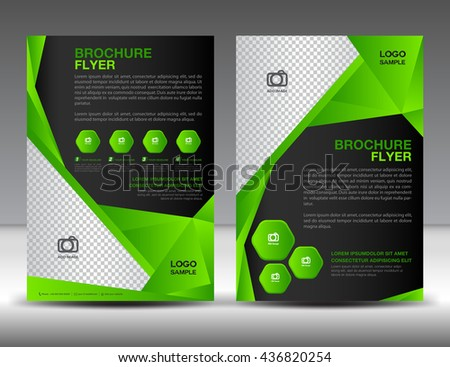 set of green brochure flyer design layout template in a4 size