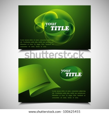 set of green business cards - stock vector