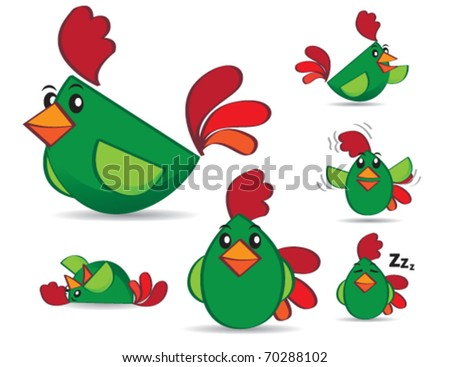 Set of green chicken