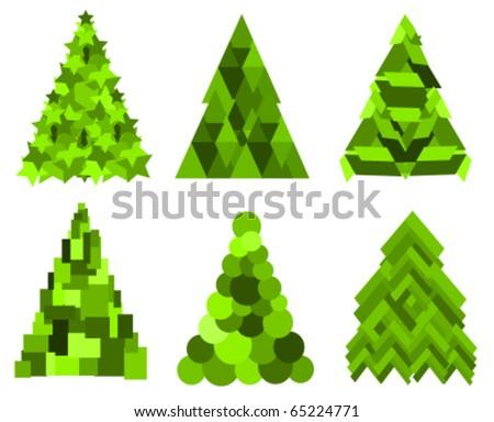 Set of green Christmas trees. vector illustration