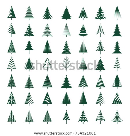 Set of green Christmas Trees. Vector Illustration.
