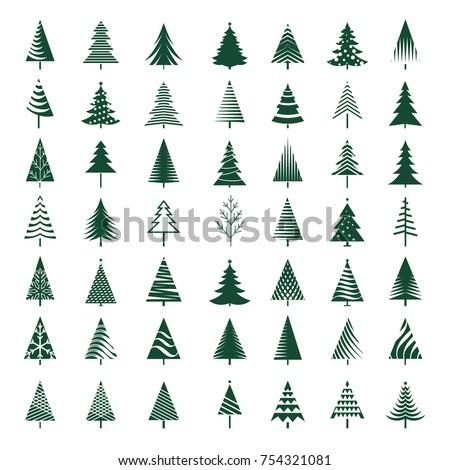 Set of green Christmas Trees. Vector Illustration.
