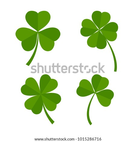set of green clover leaves
