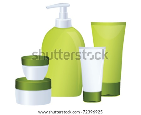 Set of green cosmetic bottles, vector