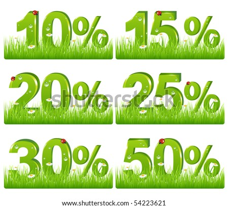 Set Of Green Discount Figures In Grass For Your Design, Isolated on white