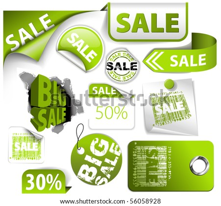 Set of green discount tickets, labels, stamps, stickers, corners, tags (vector)