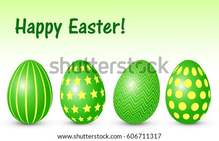 set of green easter eggs