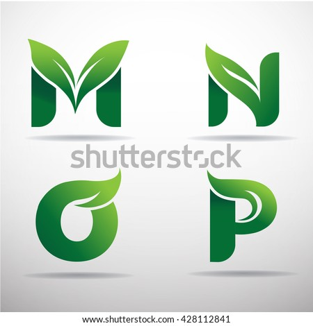 set of green eco letters logo