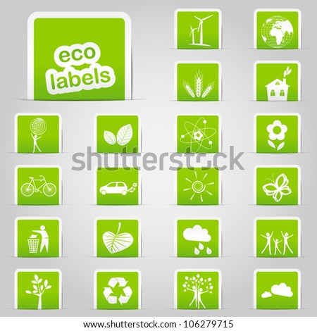 Set of green ecology labels