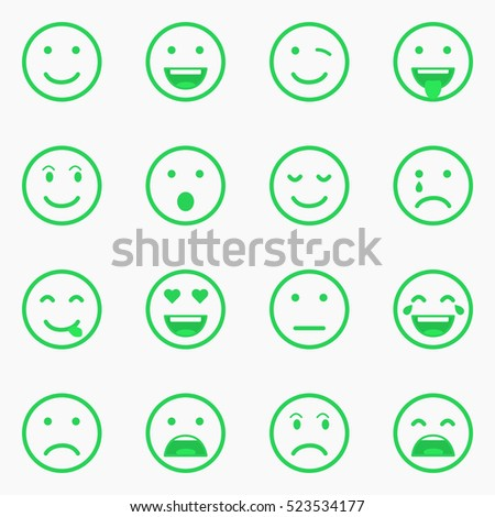 Set of green Emoticons, Emoji and Avatar. Outline style isolated vector illustration on white background. Happy, sad, disappointment face icon graphic.