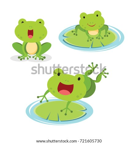 set of green frog in different