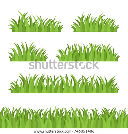 set of green grass  tuft and