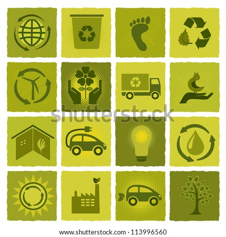 Set of 16 green icons