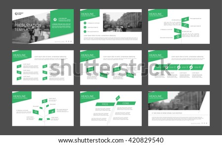 Set of green infographic elements for presentation templates. Leaflet, Annual report, book cover  design. Brochure, layout, Flyer template design.