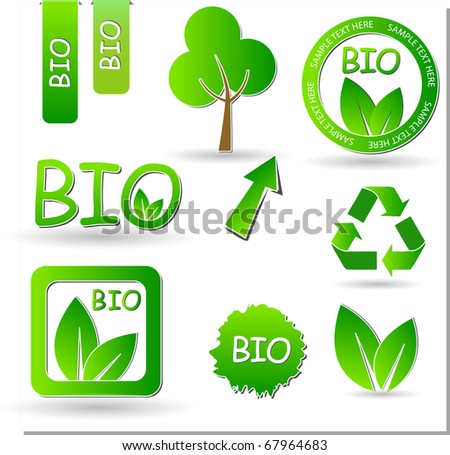 set of green labels and stickers - stock vector