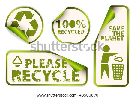 Set of green labels badges and stickers with recycle icons